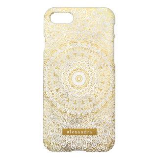 Stilvolles GoldMandala-Muster auf weißem Marmor iPhone 8/7 Hülle