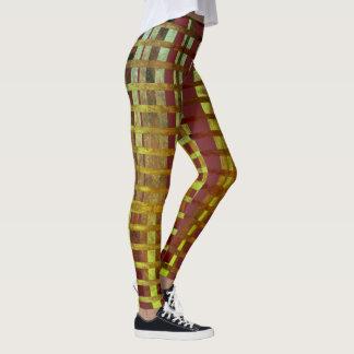 Stilvolles grünes u. lila Ombre kariertes Muster Leggings