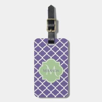 Stilvolles lila Quatrefoil und grünes Gepäckanhänger