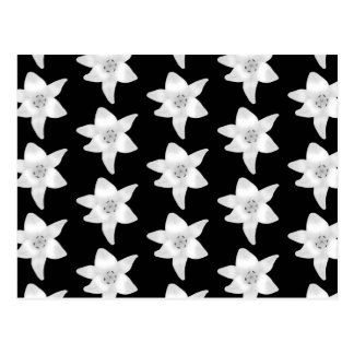 Stilvolles Lilien-Muster in Schwarzweiss. Postkarte