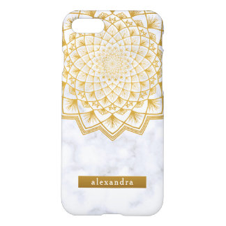 Stilvolles Marmor-und GoldMandala-Spitze-Muster iPhone 8/7 Hülle