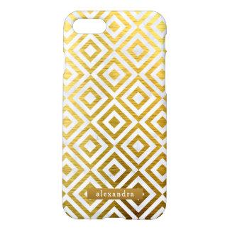Stilvolles Marmor-und Goldquadrat-Muster iPhone 8/7 Hülle
