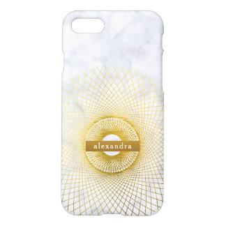 Stilvolles Marmor-und Goldrundschreiben-Muster iPhone 8/7 Hülle