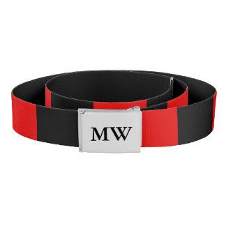 Stilvolles mit Monogramm Rotes und schwarz Gürtel