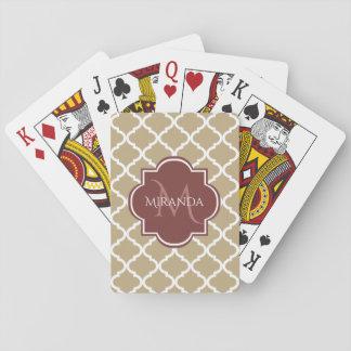 Stilvolles Monogramm und Name TANs Quatrefoil Spielkarten
