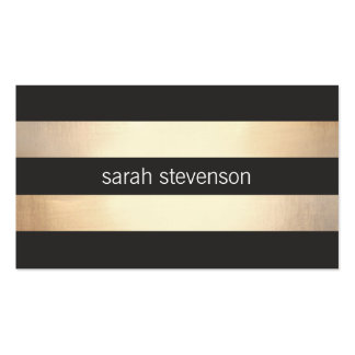 Stilvolles mutiges Gold und schwarzes gestreiftes Visitenkarten Vorlagen