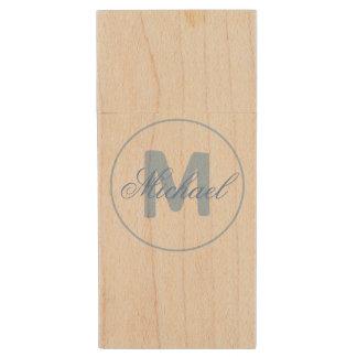 Stilvolles Namen-und Monogramm-Medaillon-Cerulean Holz USB Stick 2.0