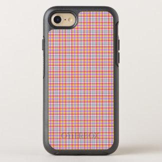Stilvolles orange kariertes Muster OtterBox Symmetry iPhone 8/7 Hülle