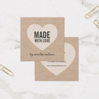 Stilvolles rustikales gemacht mit Liebe mit Herzen Quadratische Visitenkarte