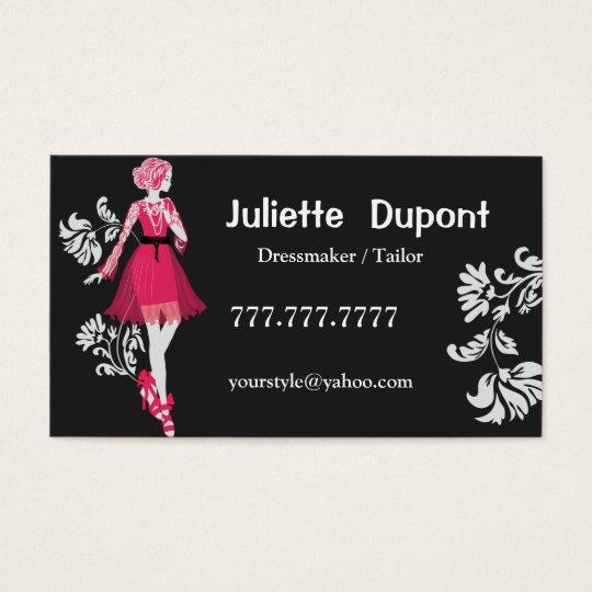 Stilvolles Schneider-Damenschneiderinschwarzes Visitenkarte