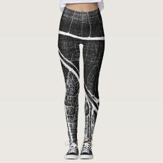 Stilvolles Schwarz-weißes Blatt Leggings