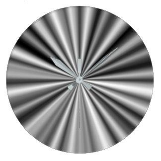 Stilvolles Schwarz-weißes silbernes Muster Große Wanduhr