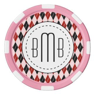 Stilvolles schwarze und rote Rauten-kariertes Poker Chip Set
