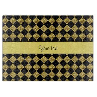 Stilvolles schwarzes u. gelbes Glitter-Schachbrett Schneidebrett