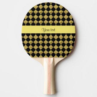 Stilvolles schwarzes u. gelbes Glitter-Schachbrett Tischtennis Schläger