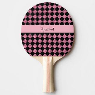 Stilvolles schwarzes u. rosa Glitter-Schachbrett Tischtennis Schläger