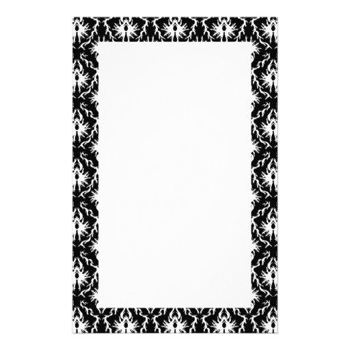 Stilvolles Schwarzweiss-Damast-Muster Druckpapiere