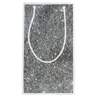 Stilvolles silbernes Glitterglitz-Foto Kleine Geschenktüte