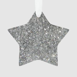 Stilvolles silbernes Glitterglitz-Foto Ornament
