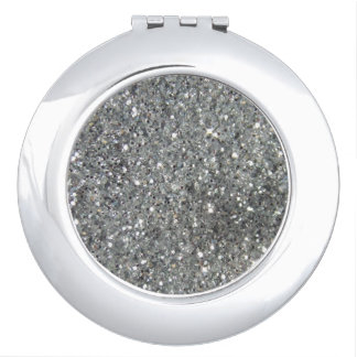 Stilvolles silbernes Glitterglitz-Foto Taschenspiegel