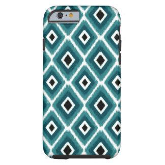 Stilvolles Türkis-Schwarzes Ikat Muster Tough iPhone 6 Hülle