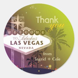 Stilvolles Wedding Las Vegas danken Ihnen zu Runder Aufkleber