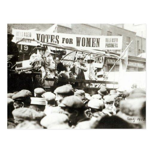 Stimmen für Frauen, im August 1908 Postkarte