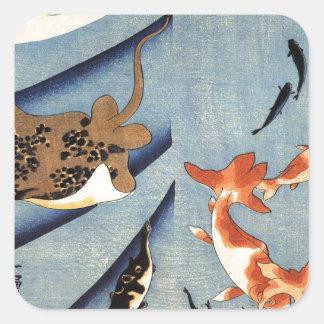 Stingrays durch Utagawa Kuniyoshi Quadrat-Aufkleber