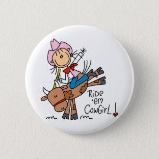 Stock-Cowgirl, das Stier-Knopf reitet Runder Button 5,1 Cm
