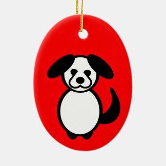 Stock-Familien-Hund Keramik Ornament