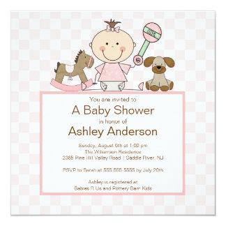 Stock Figur Baby-Babyparty Quadratische 13,3 Cm Einladungskarte