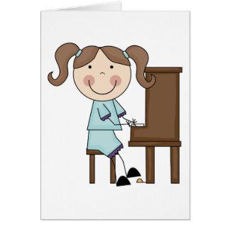 Stock-Mädchen, das Klavier spielt Grußkarte