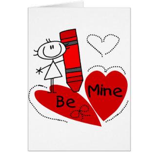 Stock-Mädchen ist Bergwerk-Valentinsgruß Grußkarte