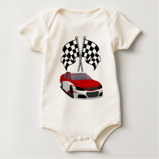 Stockcar Laufen u. Flaggen Baby Strampler