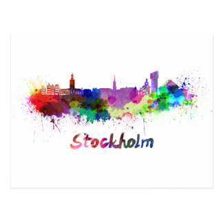Stockholm skyline im Watercolor Postkarte