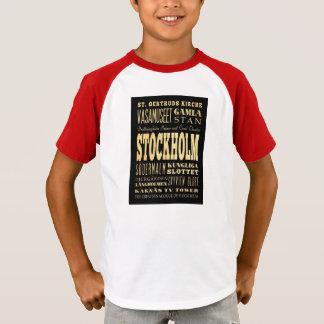 Stockholm-Stadt der Königreich-Typografie-Kunst T-Shirt