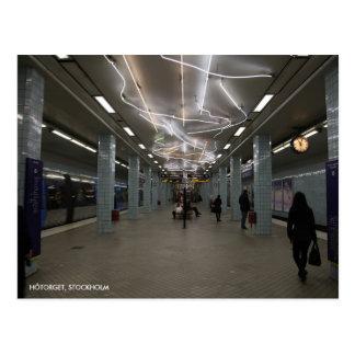 Stockholm-Untergrund II, mit Stations-Text Postkarte