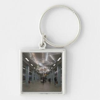 Stockholm-Untergrund II Silberfarbener Quadratischer Schlüsselanhänger