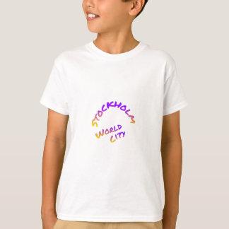 Stockholm-Weltstadt, bunte Wortkunst T-Shirt