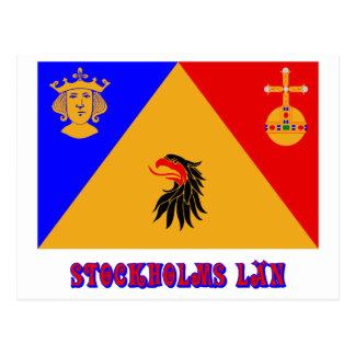 Stockholms län Flagge mit Namen Postkarte