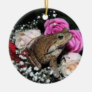 Stockkröte in den Blumen Keramik Ornament