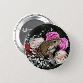 Stockkröte in den Blumen Runder Button 5,1 Cm