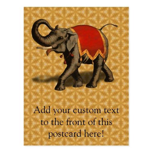 Stoff des indischen Elefant-w/Red Postkarten