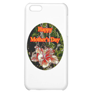 Stoff-Hibiskus-glücklicher Mutter-Tag O das MUSEUM iPhone 5C Hüllen