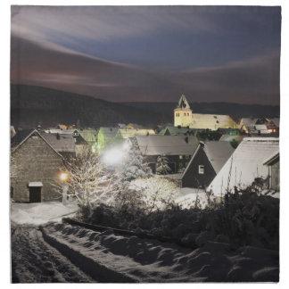 Stoff Servietten Dorf im Winter