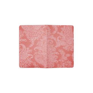 Stoffblumenmuster roter Koralle Paisleys Moleskine Taschennotizbuch