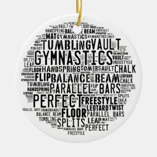 Stolpernde Gymnastik-Wort-Wolke Rundes Keramik Ornament