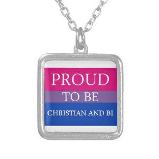 Stolz, christlich und Bi zu sein Halskette Mit Quadratischem Anhänger