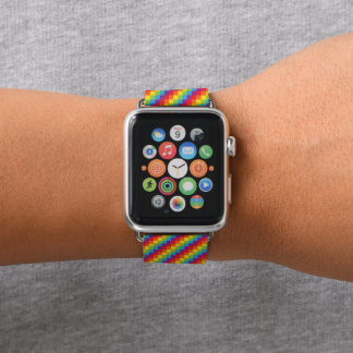 Stolz der Regenbogen-Pixel-LGBT Apple Watch Armband