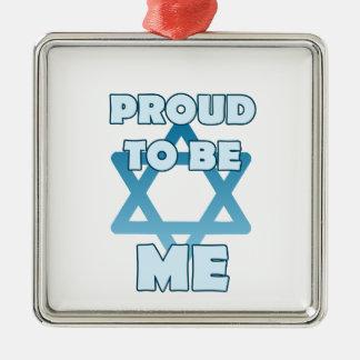 Stolz, jüdisch zu sein quadratisches silberfarbenes ornament